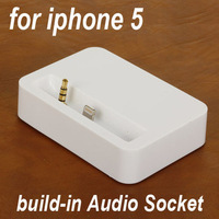 Free Shipping ( 20 piece / lot ) New build-in Audio socket Dock Charger Desktop / Docking Station for Apple iPhone 5 IP-6