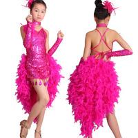 Latin dance Performance Latin dance wear One-piece dress Latin dance skirt costume feather