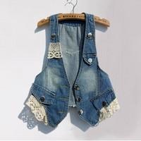 Denim vest female 2013 spring and summer lace decoration 100% cotton vest small vest short sleeveless jacket  (free shipping)