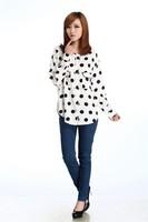 2013 women's big dot print pocket long-sleeve chiffon shirt o-neck slim shirt  (free shipping)