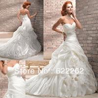 Free shipping a line sweetheart chapel train white taffeta ruffles pleated beads lace up wedding dresses bridal wedding 2013