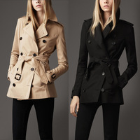 Free Shipping 2013 Autumn And Winter Women Brand Desiger Classic Double-Breasted Long Sleeve Fitted Trench Coat 3 Colors