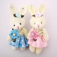 Wholesale 24pcs/lot (11-12cm )Cartoon Bouquet Doll Bouquet Packaging Materials Doll Dress Rabbit  with a Flower