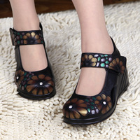 Jinnah parillaud laangcuo - embroidered women's cutout wedges shoes summer rhinestone high-heeled platform casual leather