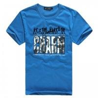 Free Shipping Summer blue top men's clothing T-shirt short-sleeve shirt casual summer men's summer clothing clothes