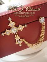 Popular fashion accessories rhinestone gorgeous crystal cross 3 chain brooch gold silver