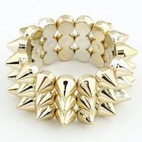 Fashion Three Layers Punk Personality Rivet Spike Elastic Bracelet