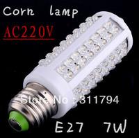 6pcs/ E27 7W warm white/white led lighting AC 220-240V 108 LED E27 led bulb lamp Corn Light Bulb free shipping