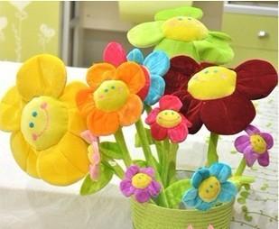 Wholesale free shipping Cartoon sunflower curtain buckle flowers sunflowers plush toys children gift wedding gift     65cm