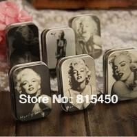 Free Shipping! 12pcs/lot Classic Collection Marilyn Monroe Mini Tin Storage Box Retro Metal Jewelry Case 6 styles