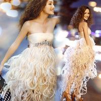 Rhinestone dream low-high formal dress maternity bride tassel evening dress sexy charming elegant dress