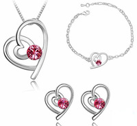 Wholesale-free shipping-Fashion Crystal Jewelry 18KGP plated Heart and heart Bracelet +Earrings+Necklace jewelry sets ES033