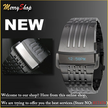 Hot Sales Lron Man Creative watch Boy Blue LCD Digital Sports Military Stainless steel Wrist Watch 30M Water Resistant FG0432