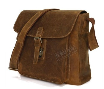 Free shipping vintage ipad bag for men Natural Cowboy Crazy Horse Leather Men's Briefcase Sling Bag Leather Messenger Bag # 7111