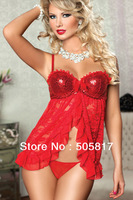Free Shipping Women's Sexy Lingerie Nightgown red Sheer Lace Intimate Chemise Sleepwear Dress Strap bra scales Nightwear Yh6710