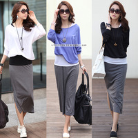 Free Shipping 2014 new women casual long-sleeved dress Slim fake three combinations
