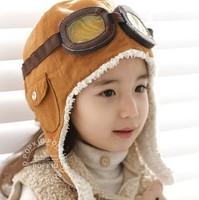 2014 Fashion Winter Baby Boys Earflap Caps Popular Kids Pilot Fur Hats Child skull Cap Beanie Hat  Accessories Free Shipping