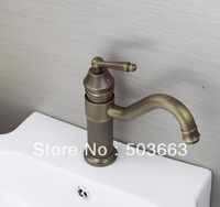 Swivel Spout Design Wholesale Antique Brass Bathroom Basin Sink Faucet Vanity Brass Faucet H-026