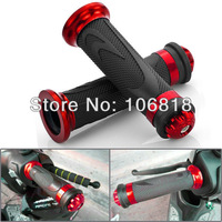 "Universal Red Anodized Motorcycle Rubber Gel Hand Grips Aluminum Bar End For 7/8"" Handlebar Street Bike Scooter Cruiser Chopper"