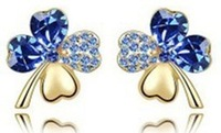 Wholesale-6pcs free ship-New arrived Last shine Fashion Jewelry 18KGP plated Clover stud Earrings EE337