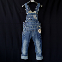free shipping High quality child denim bib pants jeans male children's girls clothing soft spaghetti strap trousers 3 - 10