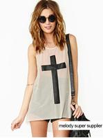 2013 Free shipping sexy black PU leather cross sleeveless translucence through feeling loose net yarn t shirt L262