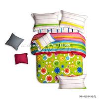 new arrivals 100% cotton 4pcs queen/king bed comforter quilt/duvet covers button pattern rainbow stripe green bedding sets
