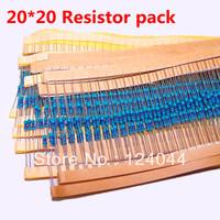 20 Values (10 Ohm ~1M Ohm)  20pcs Each 5% 1/4W MetalFilm Resistor pack Kit Total 400pcs diy kit