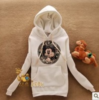 Free Shipping new arrival Women cotton hooded warm hoodies , fashion fleece outwear,  Mickey retro print ,front pocket