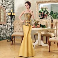 Gold formal dress costume bridal evening dress fish tail evening dress long design formal dress 2013 lf307