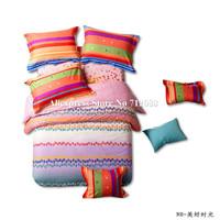 new arrivals 100% cotton 4pcs queen/king comforter quilt/duvet covers fresh feeling rainbow color bedding sets