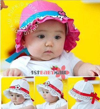 [1st baby mall] Retail one piece baby girls summer sunflower varabow bucket hat baby newfashioned sun helmet caps 4 colors