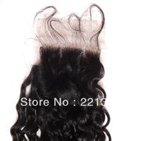 bohemian kinky curly virgin hair top closure,12inch color #1b,130% density,baby hair freeshipping!