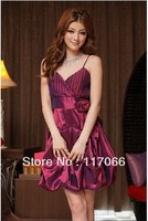 Best -selling Sweet ladies strap laminated color satin evening dress lantern