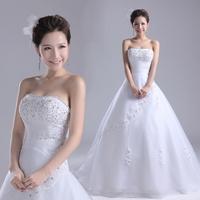 2013 New Arrival Gorgeous Rhinestone Strapless Lace up Back Princess Wedding Dress