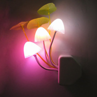 Free shipping The active lights Led photoswitchable induction mushroom lamp small night light plug in led wall lamp