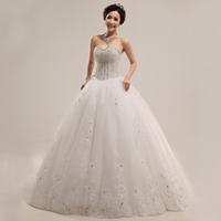 2013 New arrival Luxury Off Shoulder Beading Princess Lace up Back bridal Wedding Dress