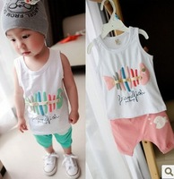 Free shipping Children's Clothing Sets 2013 summer baby clothing male child 100% small fish cotton vest set kids suit