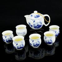 Blue and white ceramic tea set tea set kung fu tea teapot PU er tea kingfishers
