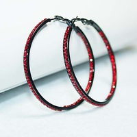 Black Big Hoop Circle Red Rhinestone Crystal Dangle Earrings E515