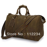 A Class CRAZY HORSE Cow Leather Unisex Dark Brown Large Luggage Bag men and women Tote Bag Travl bag 7077R