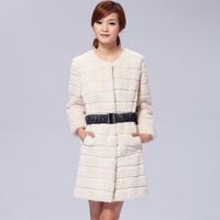 2013 Newest Ladies' Fashion Genuine Rex Rabbit Fur Coat with O-Neck Female Winter Warm Overcoat