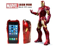 Hot Selling! 3D Iron Man Hard Case Cover Protective Armor With LED Flash For iPhone 5 (Flash While Calling)