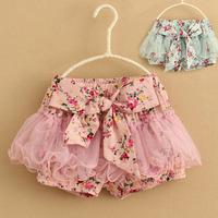 2013 children's clothing girls gauze shorts child floral shorts kids culottes tutu shorts