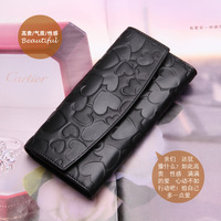 2013 new ME Brand Brand A Europe Ladies Wallet leather fold wallet zipper wallet black fashion peach heart