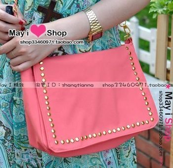 Flip gold rivet chain bag new arrival summer candy color - chromophous