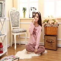 Long-sleeve sleepwear female summer spring and autumn sleepwear cotton short-sleeve cartoon at home service set