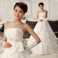 2013 tube top wedding dress formal dress princess beading flower strap wedding dress