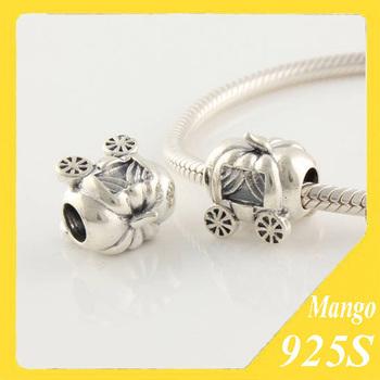 925 Sterling Silver Car Pumpkin Cart Bead Fits European Charm Beads Bracelets Pendant Necklace Wholesale Jewelry