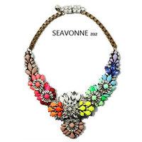 Christmas gifts Freeshopping fashion high-quality shourouk statement necklace luxury Rainbow bubble bib necklace N0215